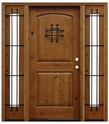 Pacific Entries  -  Rustic Alder  -  2 Panel Arch Door  - A50 - With Sidelites