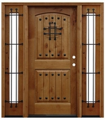 Pacific Entries  -  Rustic Alder  -  2 Panel Arch Door  - A51 - With Sidelites