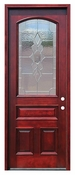 Pacific Entries  -  Traditional Series Door  -  3/4 Arched Strathmore Zinc Caming Lite  - M63-8
