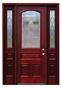 Pacific Entries  -  Traditional Series Door  -  3/4 Arched Strathmore Zinc Caming Lite  - M63-8 - With Sidelites