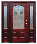 Pacific Entries  -  Traditional Series Door  -  3/4 Arched Strathmore Zinc Caming Lite  - M63 - With Sidelites