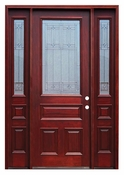 Pacific Entries  -  Traditional Series Door  -  3/4 Diablo Zinc Caming Lite  - M62-8 - With Sidelites