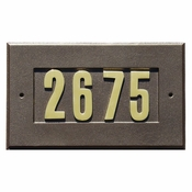 "Qualarc - Manchester Address Plate w/3"" gold brass numbers (numbers included) - ADD-1410-BZ"