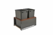 Rev-A-Shelf - 5LB-1835OGWN-213 - Orion Gray LEGRABOX and Walnut Double 35 Quart