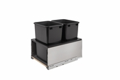 Rev-A-Shelf - 5LB-1835SSBL-218 - Stainless Steel LEGRABOX and Black Double 35 Quart