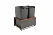Rev-A-Shelf - 5LB-1850OGWN-213 - Orion Gray LEGRABOX and Walnut Double 50 Quart