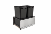 Rev-A-Shelf - 5LB-1850SSBL-218 - Stainless Steel LEGRABOX and Black Double 50 Quart