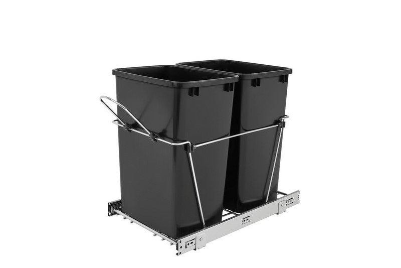 rev a shelf rv 18kd 18c s double 35 quart pullout waste containers trash can pullouts. Black Bedroom Furniture Sets. Home Design Ideas