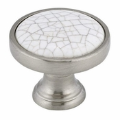 Richelieu - Eclectic Metal and Ceramic Knob - 4418 - BP4418195304 - Crackle White / Brushed Nickel - 195 - 304