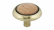 Richelieu - Eclectic Metal and Wood Knob - 3816 - BP3816BB251 - Burnished Brass / Oak / Natural - BB - 251