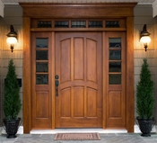 "Somerset Door - 36"" Wide 6 Arched Panel - 18"" Sidelite - 18"" Transom - PH4 - Pre-Hung"