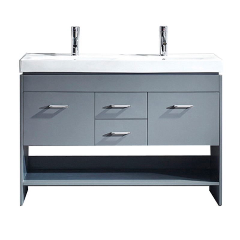 virtu usa gloria 48 double bathroom vanity in grey with white ceramic top and square sink. Black Bedroom Furniture Sets. Home Design Ideas
