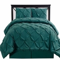 Queen Teal Oxford Double Needle Luxury Soft Pinch Pleated Comforter Set