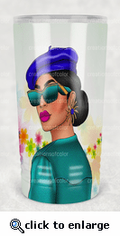 Glamour Lady Blue Drinking Glass