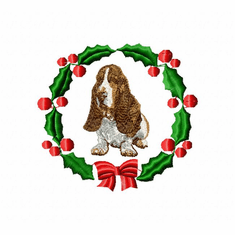 basset1wreath Basset Hound (small or large design)