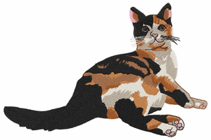 cat105 Tortoiseshell Cat laying down (small or large design)