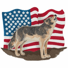 flagWolf001 Wolf with Flag (small or large design)