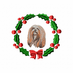 lhasa1wreath Lhasa Apso (small or large design)