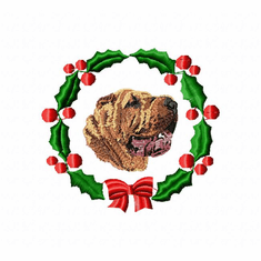 pei1wreath Chines Shar Pei (small or large design)