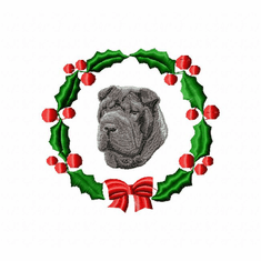 pei5wreath Chines Shar Pei (small or large design)