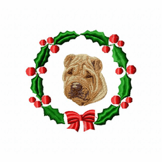 pei7wreath Chines Shar Pei (small or large design)