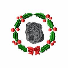pei8wreath Chines Shar Pei (small or large design)