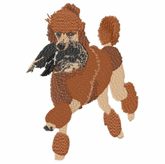pood009 Poodle-Red Poodle Retreiving Female Mallard Duck(small or large design)