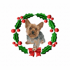 yorkie11wreath Yorkshire Terrier (small or large design)