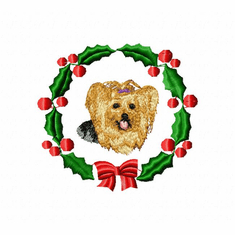yorkie6wreath Yorkshire Terrier (small or large design)