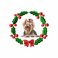 yorkie8wreath Yorkshire Terrier (small or large design)