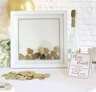 Guest Book Signing Frame with Gold Hearts