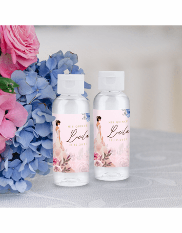 Personalized 2oz Mini Hand Sanitizer Quinceañera Favor - Floral Pink