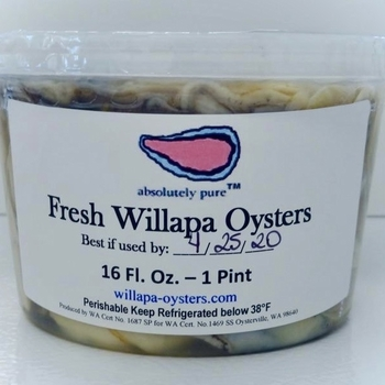Willapa Shucked Small - Pints  <h6>Fresh (not frozen)</h6>