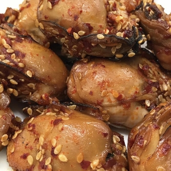 """Korean Spicy Smoked Oysters  - <h6>Fresh (not canned)</h6><Font Face= """"Times New Roman, Times, Serif""""COLOR=#0101DF  SIZE=3><b>Gluten-free</b></font>"""