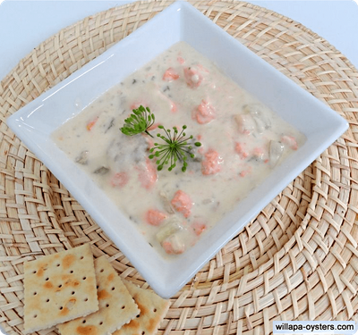 """Smoked Salmon Chowder - <font color=red>Pint Size</font><br><Font Face= """"Times New Roman, Times, Serif""""COLOR=#0101DF  SIZE=4><b>Gluten-free</b></font>"""