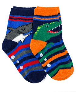 1174 Dinosaur & Shark Fuzzy Slipper Socks 2 Pair Pack