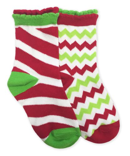 2779 Christmas Candy Cane Stripe and Chevron Pattern Socks 1 Pair Pack