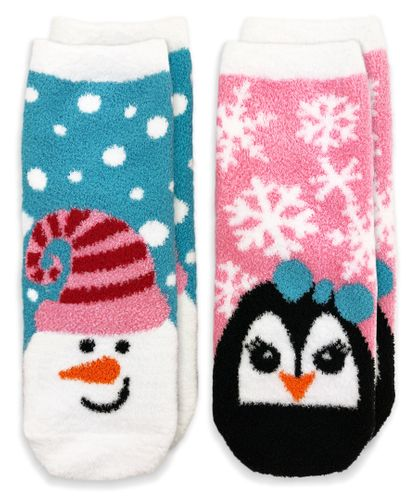 2893 Fuzzy Non-Skid Snowman and Penguin Christmas Slipper Socks 2 Pair Pack
