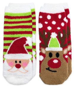 2894 Fuzzy Non-Skid Santa and Reindeer Christmas Slipper Socks 2 Pair Pack