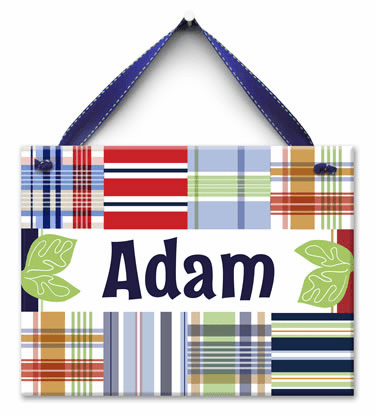 All About Plaid Personalized Wall Tile (Boy)