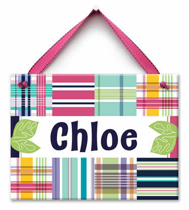 All About Plaid Personalized Wall Tile (Girl)