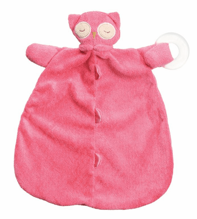 Angel Dear Pink Owl Teether Blankie Personalized