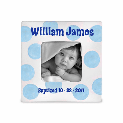 Baptism Baby (Boy) Ceramic Photo Frame