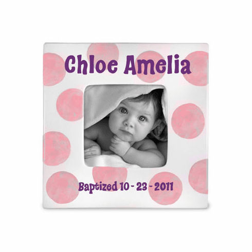 Baptism Baby (Girl) Ceramic Photo Frame