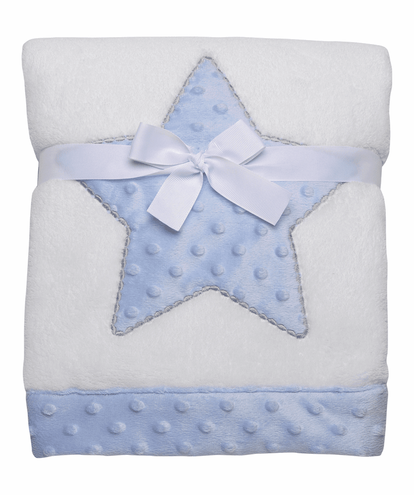 Blue Minky Star Plus Boa Blanket Personalized