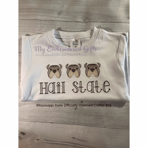 Bulldogs in a Row Embroidered T-Shirt