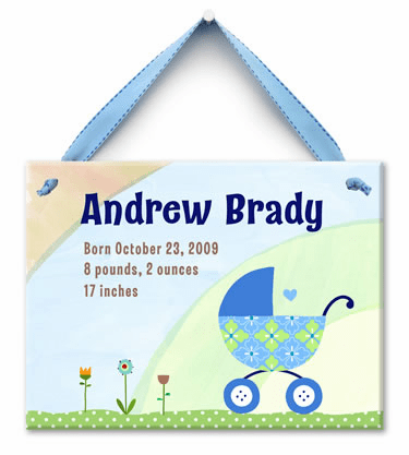 Bundle in the Buggy Personalized Wall Tile (Boy)