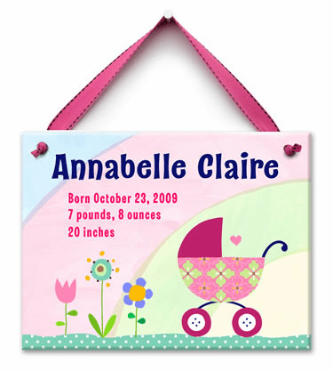 Bundle in the Buggy Personalized Wall Tile (Girl)