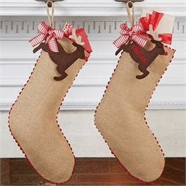 Burlap Christmas Stocking with Reindeer Tag
