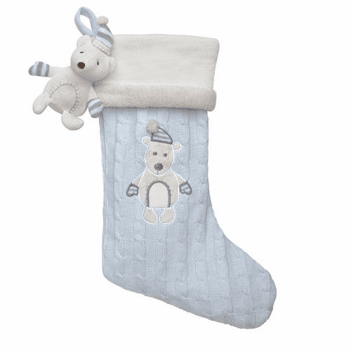 Christmas Stocking Blue Bear Applique